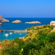 Historical yacht in Lindos bay on Rodos island — Stock Photo #54199471