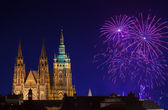 New Year fireworks in Prague — Stock Photo