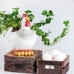 Sculpture of hen near bio eggs in box — Stock Photo #62203047