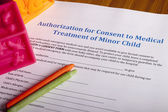 Medical Authorization of minor child — Stock Photo