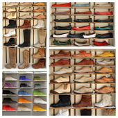 Exibition shelves with various leather shoes — Stock Photo