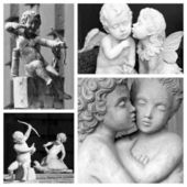 Playing cupids and kissing angelic couples — Stock Photo