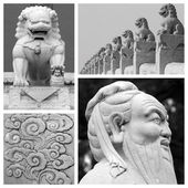 Chinese antique sculptures collage — Stock Photo
