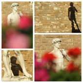 Collage with David by Michelangelo — Stock Photo