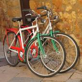 Bicycles painted in colors of Italy — Stock Photo