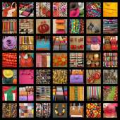 Colorful accessories collage — Stock Photo
