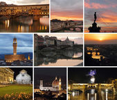 Florence by night collage — Stock Photo