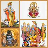 Hindu gods on tiles — Stock Photo