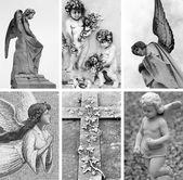 Vintage angels sculptures — Stock Photo