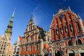 House of the Blackheads and St. Peter's church, Riga, Latvia — Stock Photo