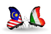 Butterflies with Malaysia and  Ireland flags on wings — Stock Photo