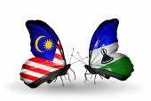 Butterflies with Malaysia and Lesotho flags on wings — Foto Stock