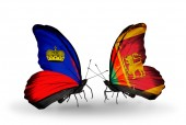 Butterflies with Liechtenstein and Sri Lanka flags on wings — Стоковое фото
