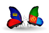 Butterflies with Liechtenstein and Eritrea flags — Stock Photo