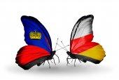 Butterflies with Liechtenstein and South Ossetia flags — Stock Photo