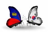 Butterflies with Liechtenstein and South Korea flags — Foto de Stock