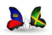 Butterflies with  Liechtenstein and Jamaica flags — Foto de Stock