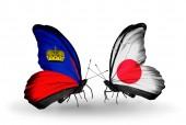 Butterflies with Liechtenstein and Japan flags — Foto de Stock