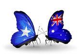 Butterflies with Somalia and Australia flags — Foto de Stock