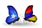 Butterflies with Somalia and Armenia flags — Foto de Stock