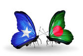 Butterflies with Somalia and Bangladesh flags — Foto de Stock