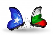 Butterflies with Somalia and Bulgaria flags — Foto de Stock
