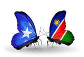 Butterflies with Somalia and Namibia flags on wings — Foto de Stock