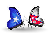 Butterflies with Somalia and Nepal flags on wings — Foto de Stock
