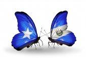翼にソマリアとサルバドール フラグと蝶 — ストック写真
