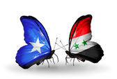 Butterflies with  Somalia and Syria flags on wings — Foto de Stock