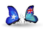 Butterflies with Somalia and Tuvalu flags on wings — Foto de Stock