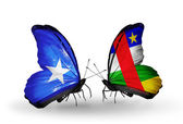 Butterflies with Somalia and CAR flags — Foto de Stock