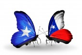 Butterflies with Somalia and  Chile flags — Foto de Stock