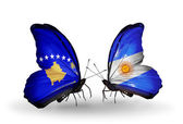 Butterflies with Kosovo and Argentina flags — Foto de Stock