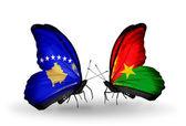 Butterflies with Kosovo and Burkina Faso flags — Foto de Stock