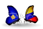 Butterflies with Kosovo and Venezuela flags — Foto de Stock