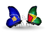 Butterflies with  Kosovo and Guyana flags — Foto de Stock