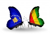 Butterflies with Kosovo and Guinea flags — Foto de Stock