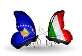 Butterflies with Kosovo and Italy flags — Stock Photo