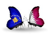 Butterflies with Kosovo and Qatar flags — Foto de Stock