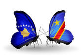 Butterflies with Kosovo and Kongo flags — Foto de Stock