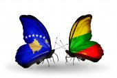 Butterflies with Kosovo and Lithuania flags — Foto de Stock