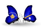 Butterflies with Kosovo and Nauru flags — Foto de Stock