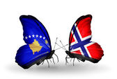 Butterflies with Kosovo and Norway flags — Stockfoto