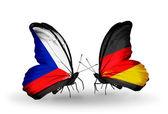 Motyle z Czech i Niemiec flagi — Zdjęcie stockowe