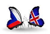Butterflies with Czech and Iceland flags — Stock Photo
