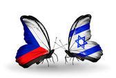 Butterflies with Czech and Israel flags — Zdjęcie stockowe