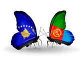Butterflies with Kosovo and  Eritrea flags — Stock Photo