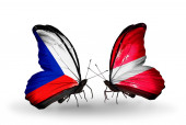 Butterflies with Czech and Latvia flags — Stock Photo