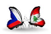 Vlinders met Tsjechië en Libanon vlaggen — Stockfoto